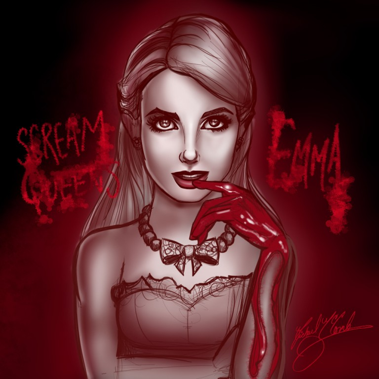 Scream Queens: Emma Roberts Chanel pin up art pinup michael mccomb drawing art illustration digital painting cartoon artist