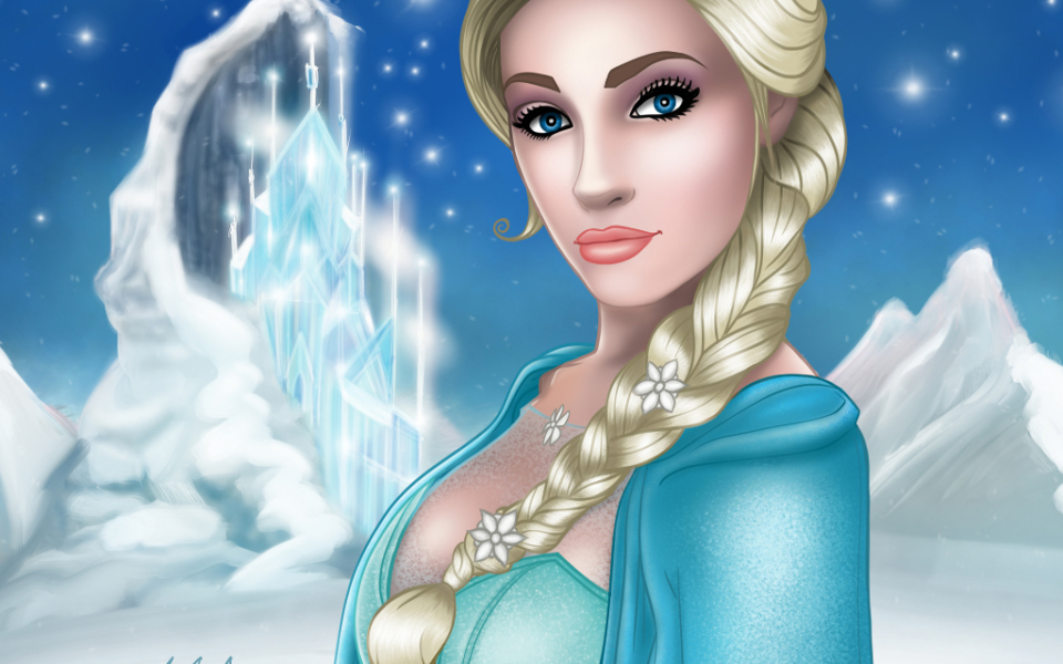 Anna Faith as Elsa pin up art pinup michael mccomb drawing art illustration digital painting cartoon artist