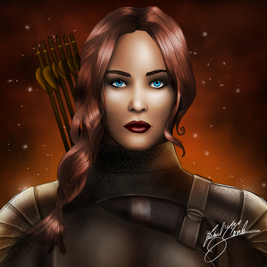 Katniss Evergreen pin up art pinup michael mccomb drawing art illustration digital painting cartoon artist