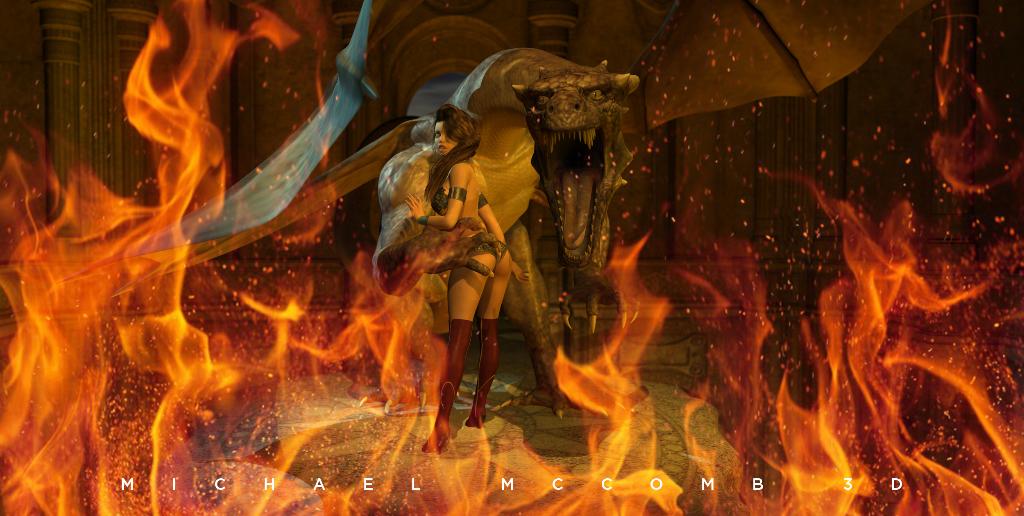 dragon princess fire render pinup pin up 3d
